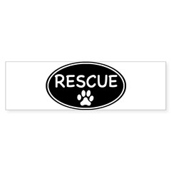 Rescue Black Oval Oval Sticker (Bumper 10 pk)