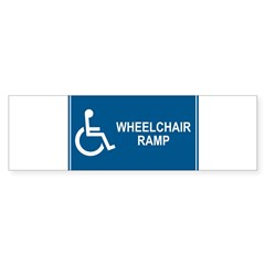 Wheelchair Ramp Notice Rectangle Sticker (Bumper 10 pk)