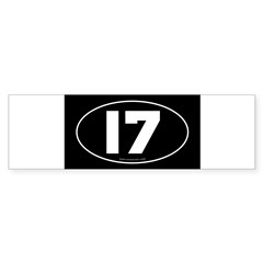 #17 Euro Bumper Oval Sticker -Black Sticker (Bumper 10 pk)