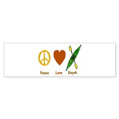 Peace,Luv,Kayak Sticker (Bumper 10 pk)