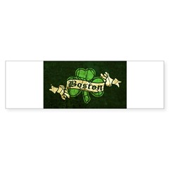 Retro Boston Shamrock Oval Sticker (Bumper 10 pk)