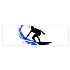 Wave Surfing Oval Sticker (Bumper 10 pk)