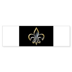Fleur de Lis on BLK Oval Sticker (Bumper 10 pk)