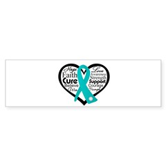 Heart Ovarian Cancer Sticker (Bumper 10 pk)