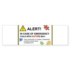 Autism Emergency Warning Sticker for Car Sticker (Bumper 10 pk)
