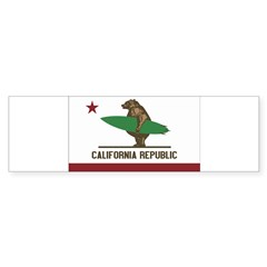 California Surfing Bear Flag Sticker (Bumper 10 pk)