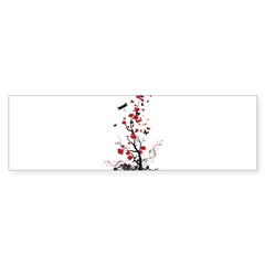 Black and Red Flower Sticker (Bumper 10 pk)