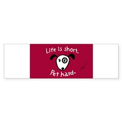 Pet Hard (Dog) Sticker (Red Oval) Sticker (Bumper 10 pk)