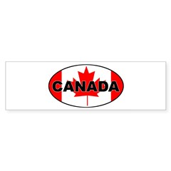 Canadian Flag Oval Sticker (Bumper 10 pk)