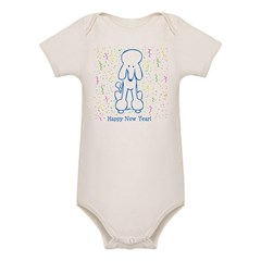 Happy New Year Poodle Organic Baby Bodysuit
