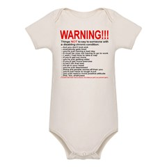 Chronic Condition Warning Organic Baby Bodysuit