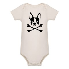 Boston Terrier Crossbones Organic Baby Bodysuit