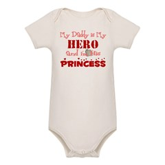 My Daddy is My Hero (red) Organic Baby Bodysuit