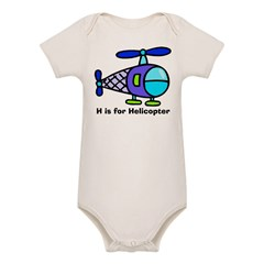 H is for Helicopter! Kids Organic Baby Bodysuit