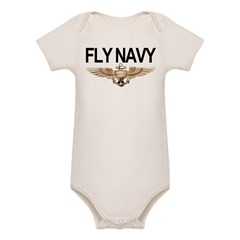 Fly Navy Wings Organic Baby Bodysuit