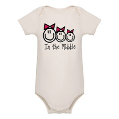Middle Sister of Three (Girls Organic Baby Bodysuit