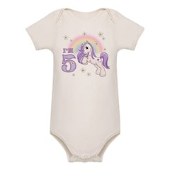Pretty Pony 5th Birthday Organic Baby Bodysuit
