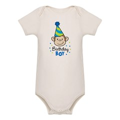 Birthday Boy - Monkey Organic Baby Bodysuit