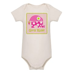 Girls Rule! Elephant Organic Baby Bodysuit