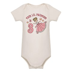 Pretty Princess 3rd Birthday Organic Baby Bodysuit