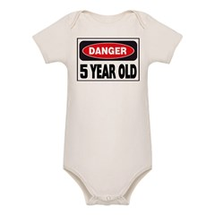5 Year Old Danger Sign Organic Baby Bodysuit