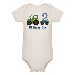 2nd Birthday Tractor Organic Baby Bodysuit