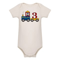 3 Year Old Birthday Train Organic Baby Bodysuit