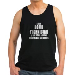 "SharpTee's ""Bomb Technician"" Black Men's Dark Tank Top"