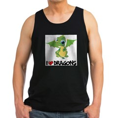 I Love Dragons Ash Grey Men's Dark Tank Top