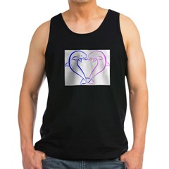 Dolphin Heart Blue and Pink Men's Dark Tank Top