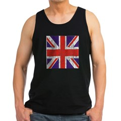 Distressed British Flag Men's Dark Tank Top