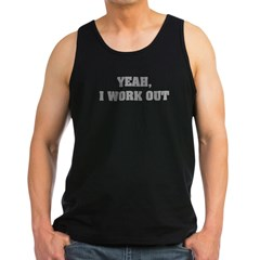 YEAH, I WORK OUT Men's Dark Tank Top