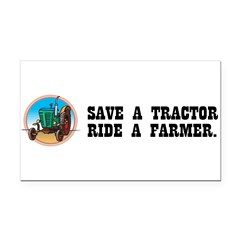 Save a Tractor, Ride a Farmer Rectangle Car Magnet