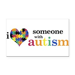 I HEART Someone with Autism - Rectangle Car Magnet