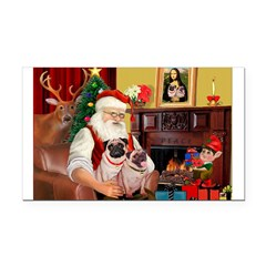 Santa's fawn Pug pair Rectangle Car Magnet