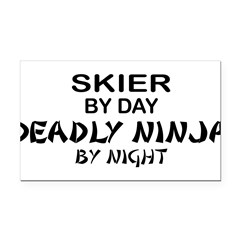 Skier Deadly Ninja Rectangle Car Magnet