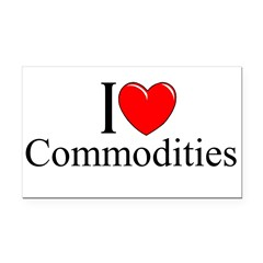 """I Love (Heart) Commodities"" Rectangle Car Magnet"