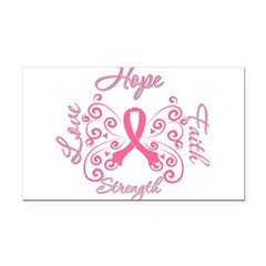 Breast Cancer Butterfly Hope Rectangle Car Magnet