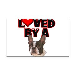 Loved by a Boston Terrier Rectangle Car Magnet