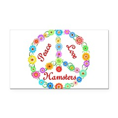 Peace Love Hamsters Rectangle Car Magnet