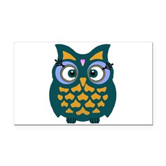 Retro Owl Rectangle Car Magnet
