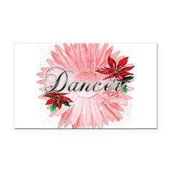Dancer Pink Snow Flower Rectangle Car Magnet