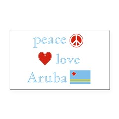 Peace, Love and Aruba Rectangle Car Magnet