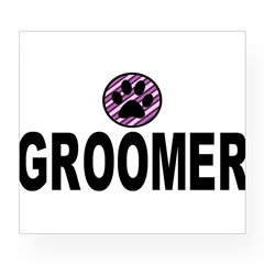 Groomer Purple Stripes Rectangle Wine Label