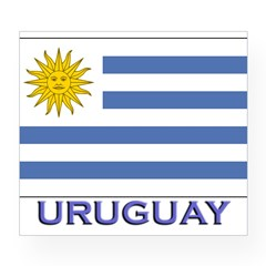 Uruguay Flag Gear Rectangle Wine Label