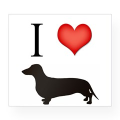 doxie love Rectangle Wine Label