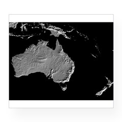 Australia Relief Map Rectangle Wine Label