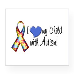 I love my child with autism Rectangle Wine Label