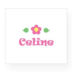 "Pink Daisy - ""Celine"" Rectangle Wine Label"