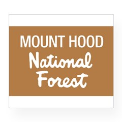 Mount Hood (Sign) National Fo Sticker (Rectangular Wine Label
